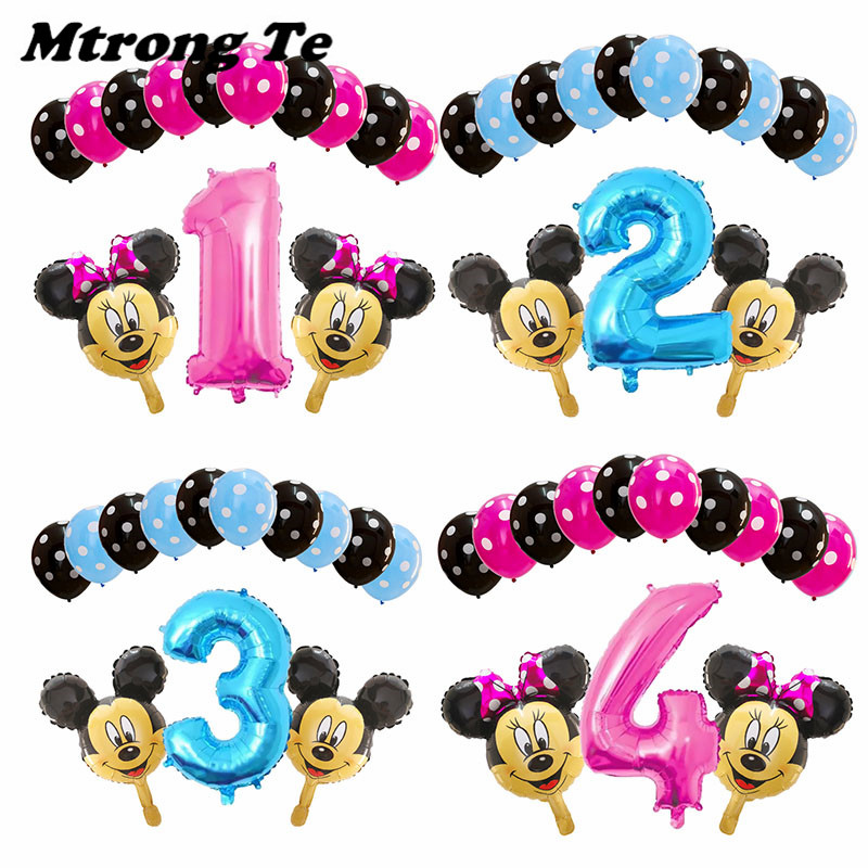 13pcs/lot 32 Pink Blue Number Minnie Mickey Theme Party Decor Balloons Birthday Party Dot Latex Balloons Baby Shower Kids Toys