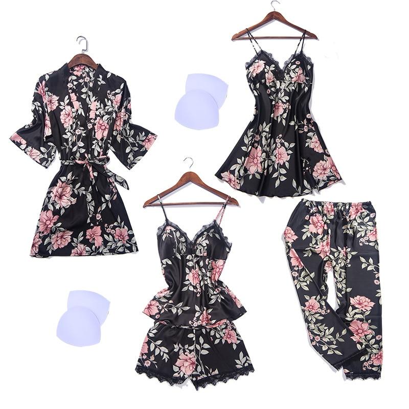 5 PCS Cami Shorts Nighty Pants Robe Lace Sexy Lingerie Nightwear Pajamas Satin Sleep Set Nightwear Negligee Sleepwear Pyjama in Pajama Sets from Underwear Sleepwears
