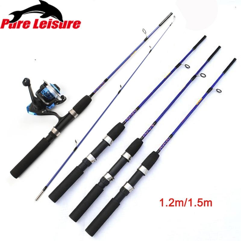 PureLeisure Fishing Rod Sazan Olta 1.2m 1.5m  Ice Fishing Rod + Fishing Reel Fast Action Carbon Baitcasting Wheel Rod Pesca