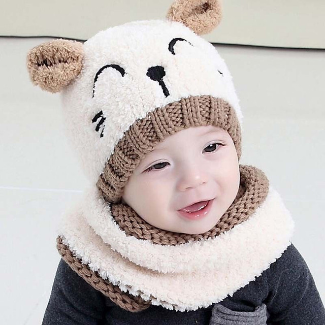 4eb944c4544 Winter Baby Warm Knitted Hats Kids Girls Boys Cute Hood Scarf Toddler  Beanie Cap