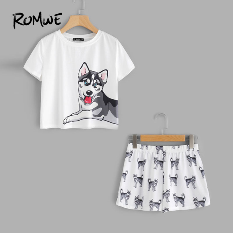 ROMWE Dog Print Tee Shorts   Pajama     Set   Multicolor Animal Print Round Neck Short Sleeve New Design Women   Pajama     Set