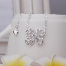 Wholesale Free Shipping silver plated Anklets,silver plated Fashion Jewelry Insets Clover Anklets SMTA010