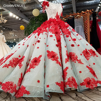 LS19920 pleat red flower party dress o neck short sleeve lace up back puffy dress for wedding party 2018 china online wholesale
