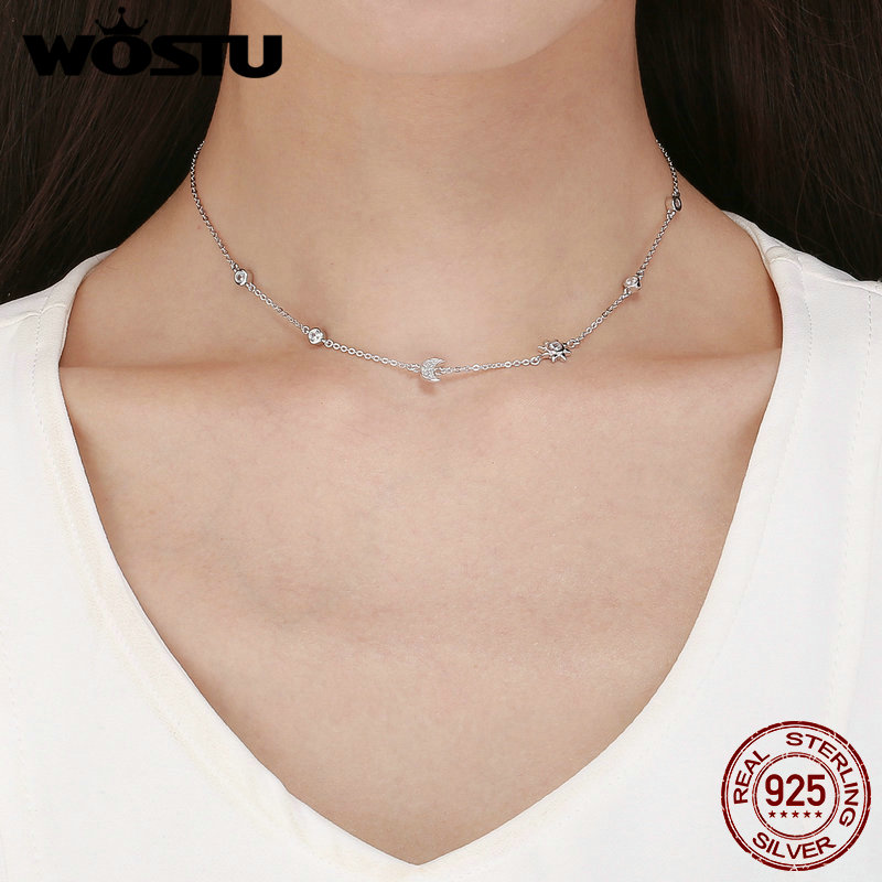 WOSTU Real 925 Sterling Silver  Sparkling Moon And Star Exquisite Pendant Choker Necklace For Women Jewelry Gift  FIN272