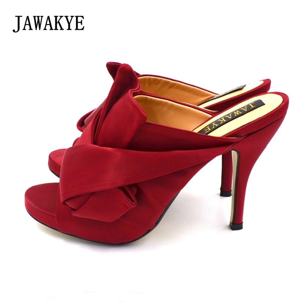 JAWAKYE большая бабочка-узел на высоком каблуке сандалии Для женщин открытый носок кроссовер Женская обувь красного цвета уютный Шелковый шле...