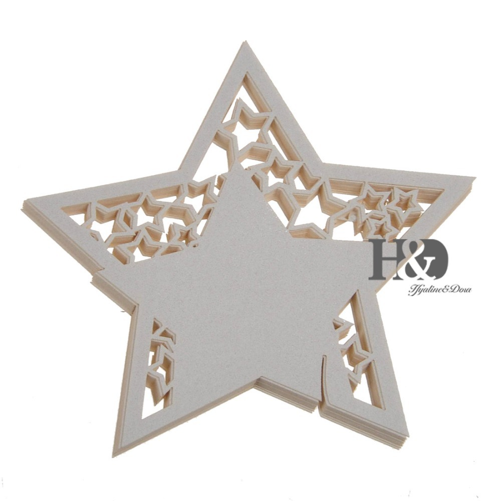 120PC/lot Laser Cut White Star Table Name Place Card Wine Glass ...