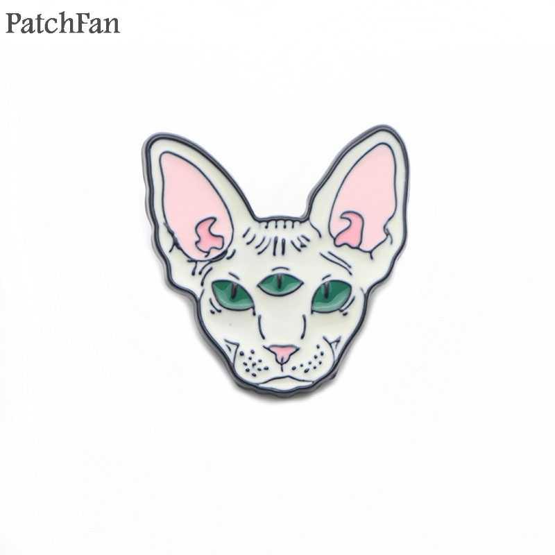 Patchfan Sphynx kat dier Zink tie cartoon Grappig Pins rugzak kleding broches voor mannen vrouwen hoed decoratie badges medaille A1365
