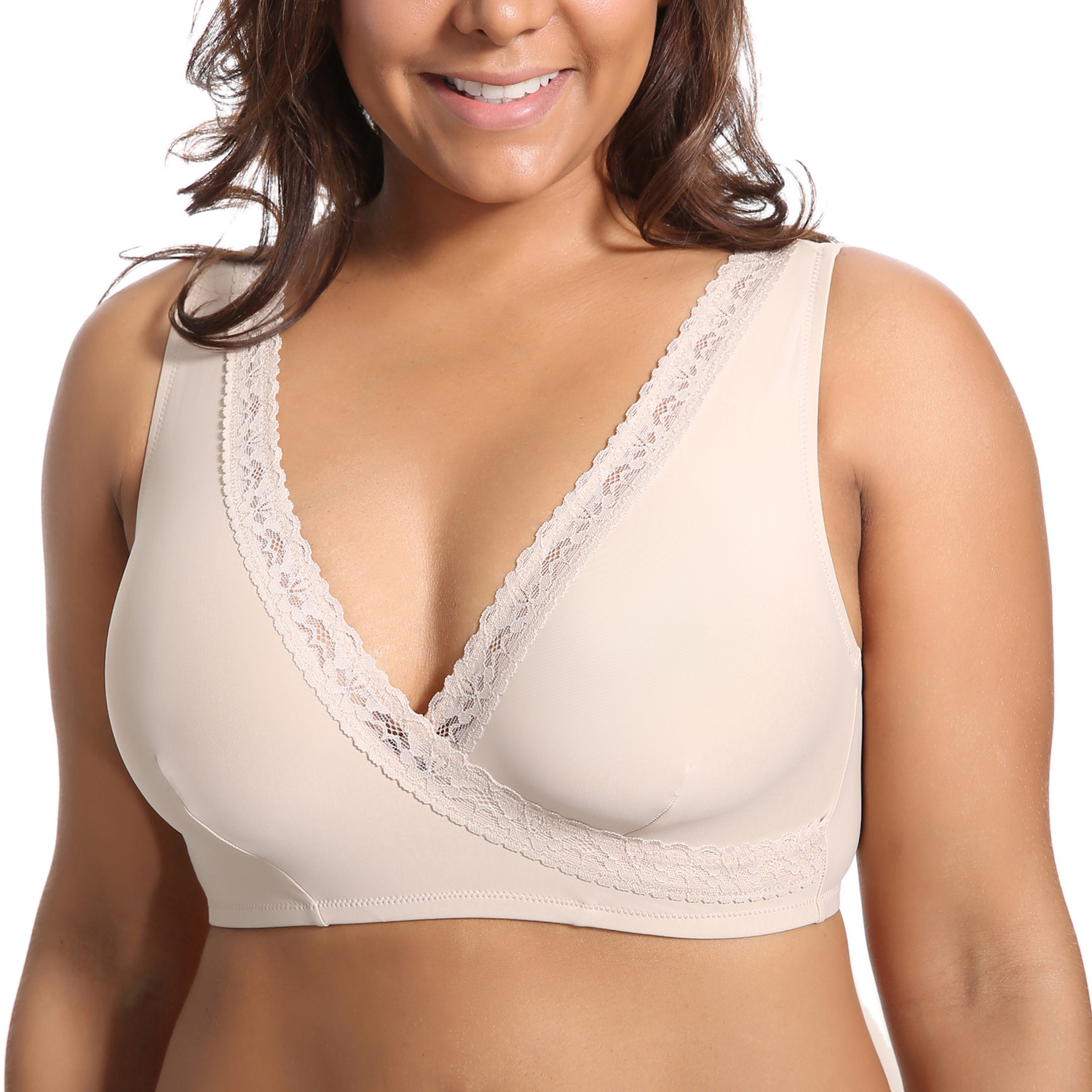 Women's Plus Size Soft Cup Comfort Wirefree Sleep Lace Bra