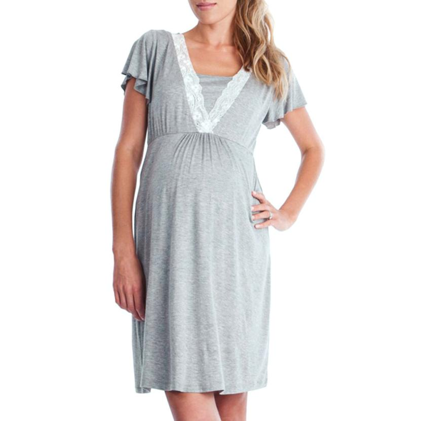 Womens Mother Lace Pregnants Casual Nursing Baby For Maternity Pajamas Dress 5.27