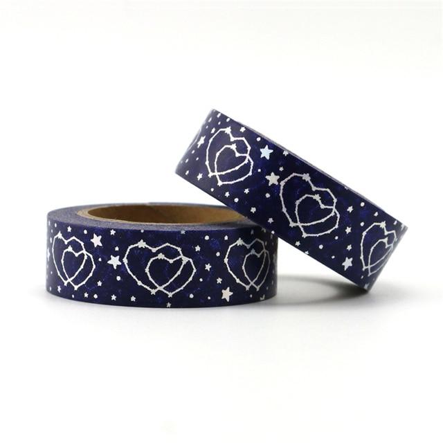 Nuevo 1 piezas de plata de alta calidad de papel de corazón y estrellas de cinta de papel decorativo de Navidad cinta de washi