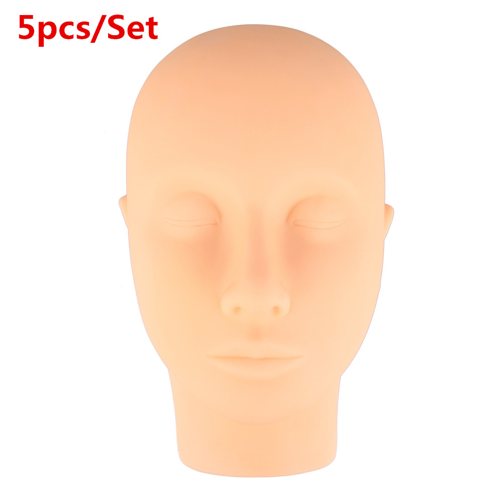 5Pcs Silicone Mannequin Training Mannequin Head Massage Makeup Tools Eyelash Extension Practice Model Hats Hairs Glasses Display new 2pcs female right left vivid foot mannequin jewerly display model art sketch