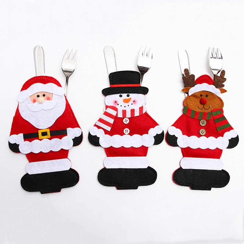 Chapéu de papai noel Da Rena Do Natal de Ano Novo de Bolso Faca Garfo Talheres Titular Saco Festa Em Casa Mesa de Jantar Decoração de Mesa 62246