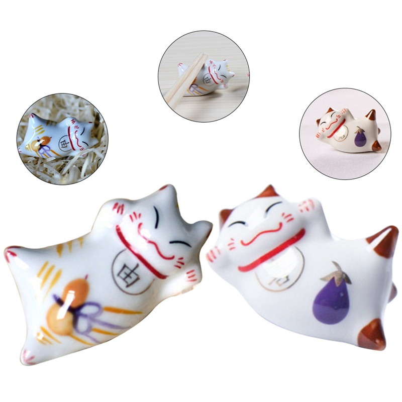 Set Of 6 Japanese Ceramic Lucky Cat Chopsticks Spoon Fork Holder Rack