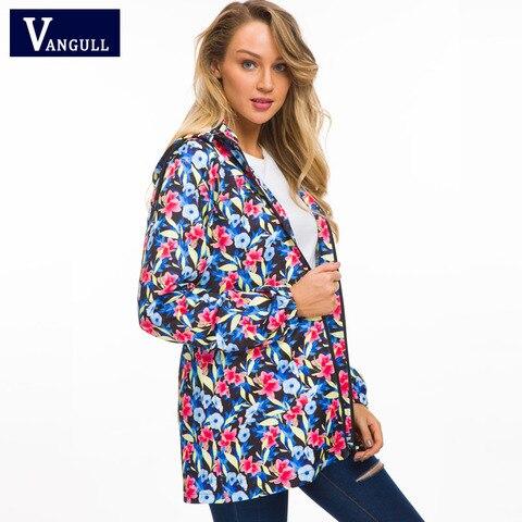 Vangull Women Hooded Jackets 2018 New Autumn Causal windbreaker Long Basic Jackets Coats Zipper Female Print Floral Jackets Karachi