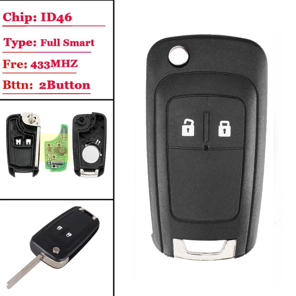 (1pcs)2 Button Keyless-go Folding Flip Remote Key Smart Car Key For Chevrolet 433mhz Id46 46 Chip Hu100 Uncut Balde ( After Mark