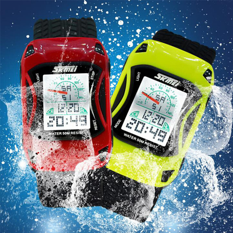 Children Car Cartoon Watch LED Digital Watches Waterproof  Swim Jelly Silicone Kids Watch Skmei Sport Wristwatch Clock 2019 New