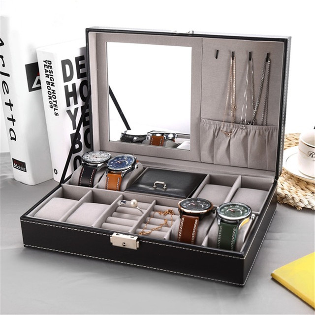 2 In 1 8 Watch Box Grids+3 Mixed Grids PU Leather Watch Case Storage Organizer B