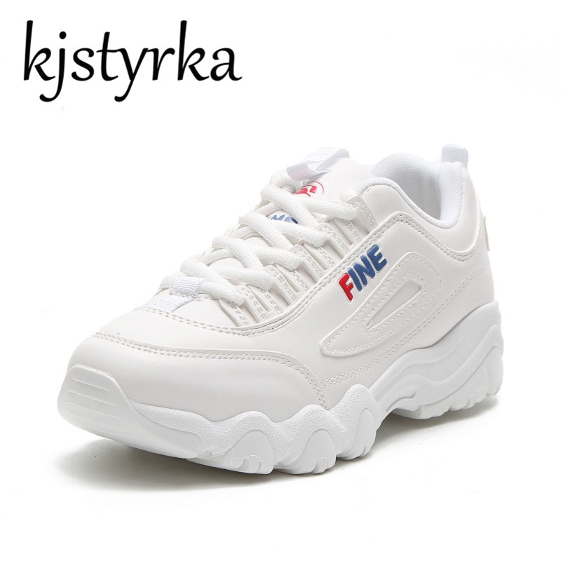 Kjstyrka Fashion White Leather Sneakers Woman Shoes 2018 Spring Tenis Feminino Casual Shoes Outdoor Walking Shoes Women Lace-up