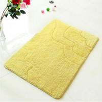 Icocopark Living Room Carpets Rug Lawn Shaggy Carpet Area Rugs Non Slip Water Absorption Solid Yellow