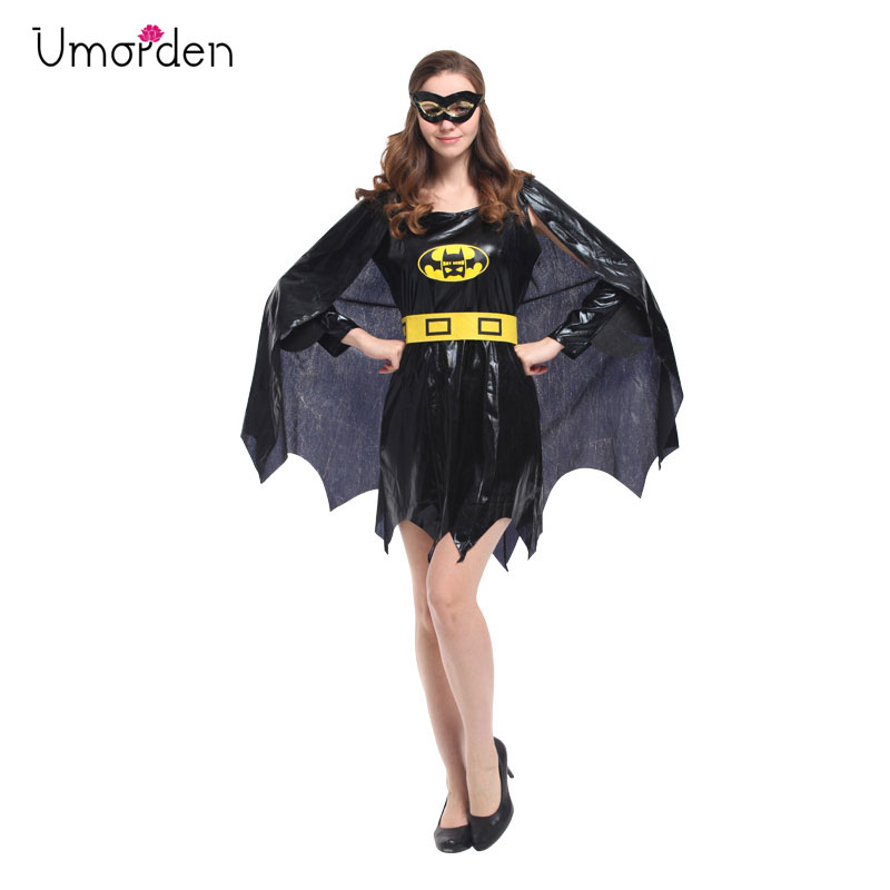 Umorden Mystery Batman Bat Woman Cosplay Costume Fancy Dress for Women Purim Holiday Party Halloween Costumes