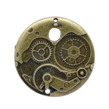 20Pcs Bronze Tone Round Mechanical Gear Clock Charms Pendants Jewelry Making 38mm, Silver Tone/Bronze