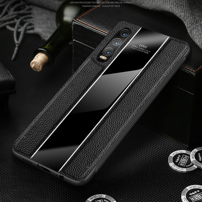 Case For Huawei P20 Pro Genuine Leather Plexiglass Soft Silicone Frame Anti knock Cover Case on For HUAWEI Mate 20 Pro Shell in Fitted Cases from Cellphones Telecommunications