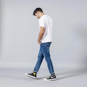 Image 2 - SIMWOOD 2020 spring winter new fashion letter print ankle length jeans men streetwear ripped hole hip hop denim pants 190202