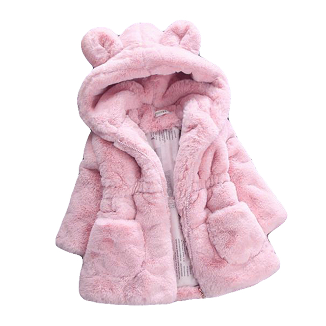 New Brand Winter Baby Girls Coats Faux Fur Fleece Coat Party Warm Pink Jackets Christmas Solid Baby Outerwear Children Clothes
