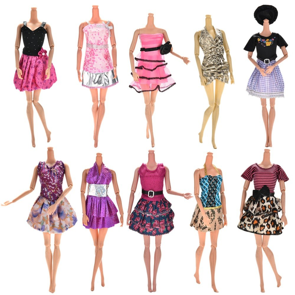 10 Pcs Fashion Clothes Casual Party Dress Suits For Barbie Or Crystal Shoes Doll Best Gift Baby Toy Doll Clothing Sets