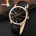 Amuda originais dos homens Relógios de Quartzo Homens Top Marca de Luxo Clássico Pulseira de Couro Relógio de Pulso À Prova D' Água Horas de Relógio Masculino