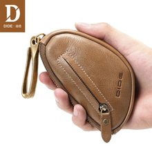 купить DIDE Vintage 100% Genuine Leather Car Key Wallet Men Keychain Cover Zipper Key Case Bag Unisex Key Holder Housekeeper Organizer по цене 1046.07 рублей
