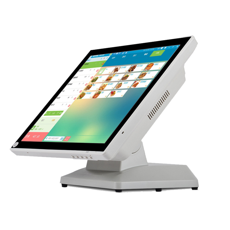 supermarket and restaurant all in one POS Cash Register 15 inch LED Display protect waterproff dustproof With 64G SSD 15 inch android all in one pos system dual screen touch cash register and 80mm thermal printer and 410mm pos cash drawer