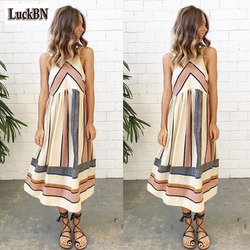2XL Plus Size O Neck Stripe Patchwork Women Lady Summer Dress Beach Clothing Sleeveless Casual Party Dress New Cotton Sundress