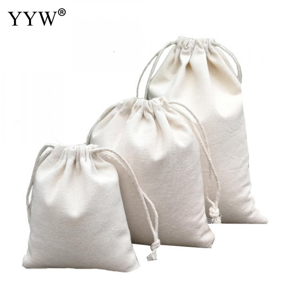 10*12cm/14*16cm/16*23cm/25*31cm Solid Color Drawstring Pouches Tear Gift Blank Bags For DIY Cotton/Hemp Bags Jewelry Packaging
