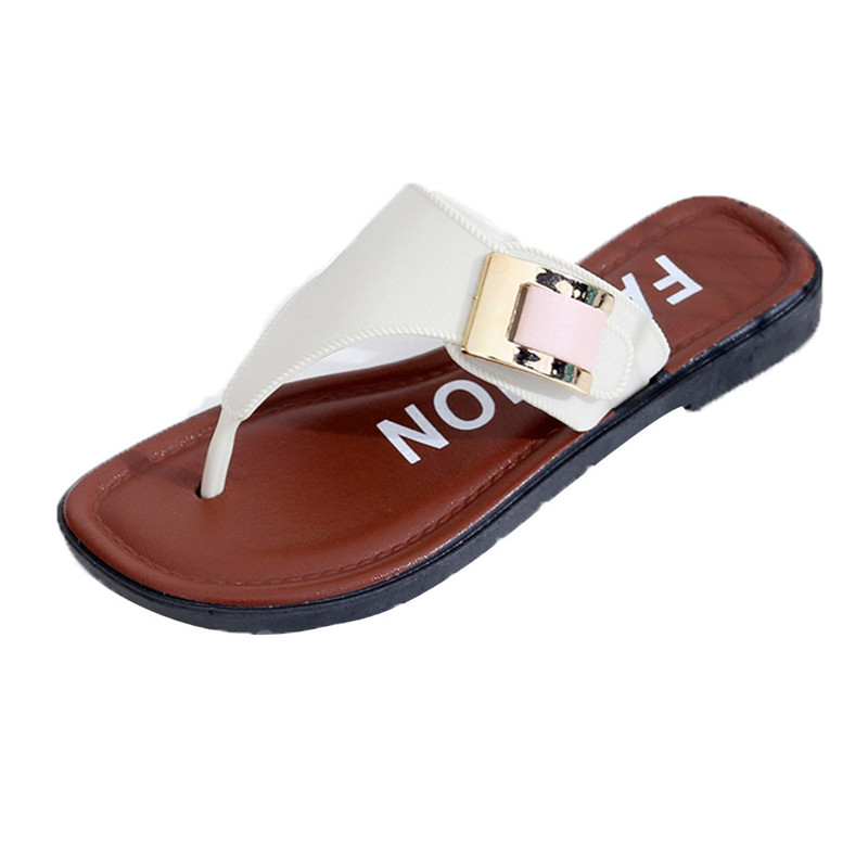 2018 New Fashion Casual Women's Beach Slipper Summer Home Flat Flip Flops Shoes Female Outdoor Leather Sandals sapato feminino new women sandals sapato feminino handmade genuine leather flat shoes wedge flip flops beach women slipper shoes sandalias mujer