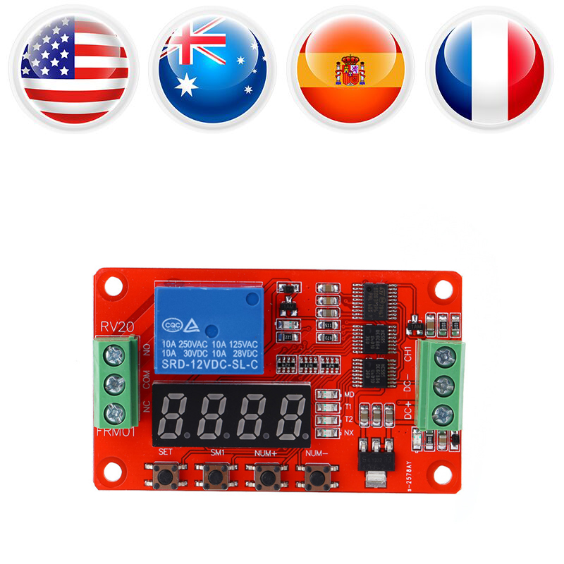 Multifunction Self-lock Relay PLC Cycle Delay Time Timer Switch Module PLC Cycle Delay Timer Swicth Controller 12V DC Durable