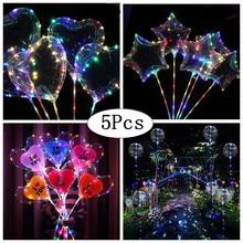 NEW 5pcs/lot BOBO Clear Balloon+3M Led Strip+balls sticks Transparent Luminous Led Balloons Wedding Decoration birthday party
