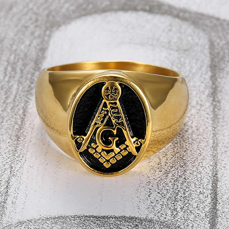 Classic Gold Color Stainless Steel Masonic Rings for Men Freemason Symbol AG Templar Freemasonry Men's Ring Jewelry Wholesale