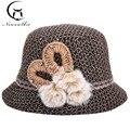Primavera No Antigo Senhoras Tricô de Lã Chapéu Da Forma Chapéus Bacia Chapéu Novo Inverno Quente