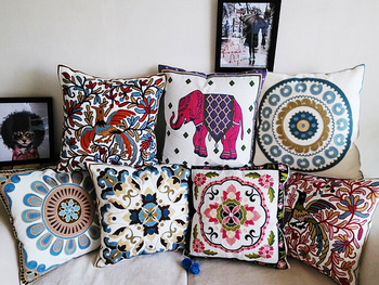 Embroidery Flowers Elephant Bird Cushions Covers Embroidered Bohemian Style Floral Pillow Case Cotton Throw Pillow Cushion Cover embroidery