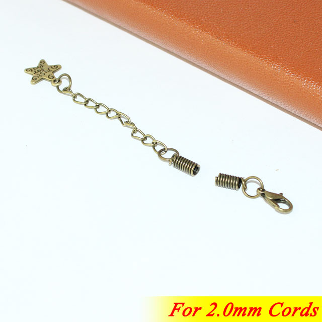 Fashion Extender Chains For 2/3/4/5MM Leather Cords Bronze Tone Metal Crimp End Spring Hooks With Lobster Clasp Alloy Star Drops