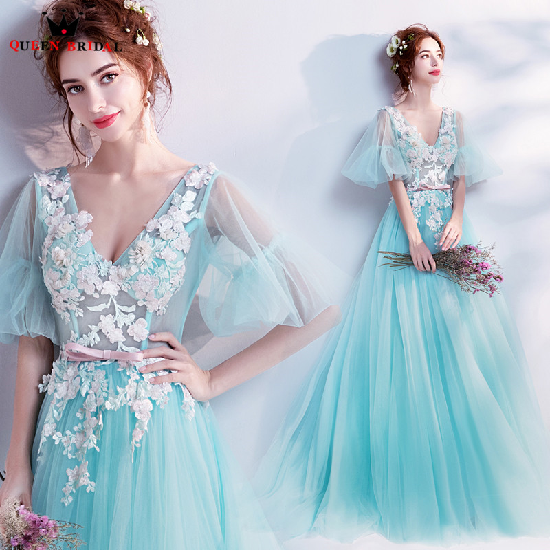 Sky Blue Formal Elegant Half Sleeve A line Tulle Lace Appliques 2019 New Evening Dress Party