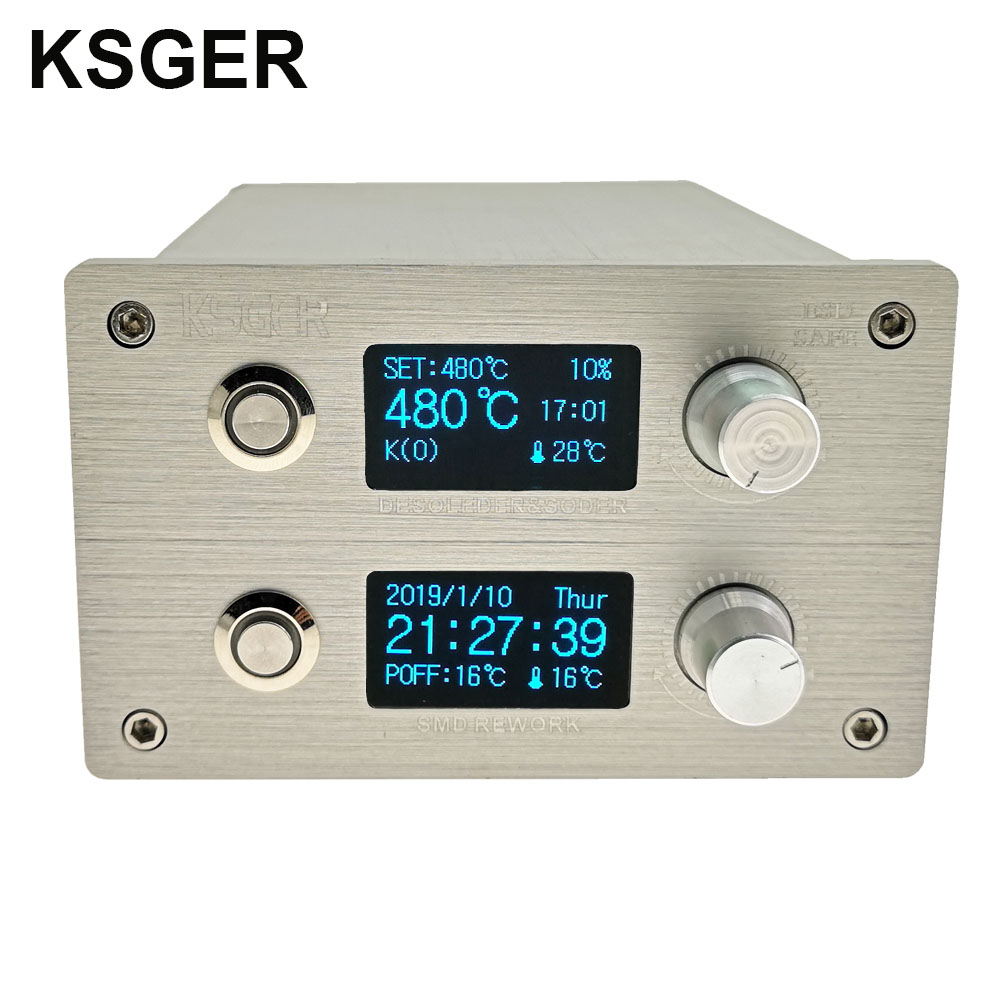 KSGER T12 Soldering Iron Station 2 In 1 SMD Hot Air Gun Soldering Desoldering DIY Kits