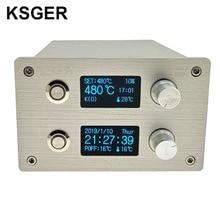 Ksger estação de solda, t12 2 em 1 smd pistola de ar quente solda e dessoldagem diy kits de vácuo elétrico stm32 controlador oled