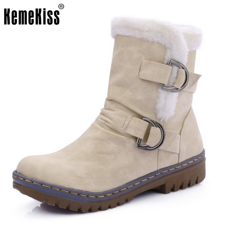 Women Round Toe Ankle Boots Woman Warm Fur Winter Snow Boots New Fashion Buckle Style Footwear Low Heel Shoes Size 34-43  new fashion style snow boots winter fashion black brown warm fur women casual shoes on sale size 34 39