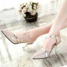 spring heel High Heels Sandals lady Pumps classics slip on Shoes sexy Women  party shoes gold a44676bf34b2
