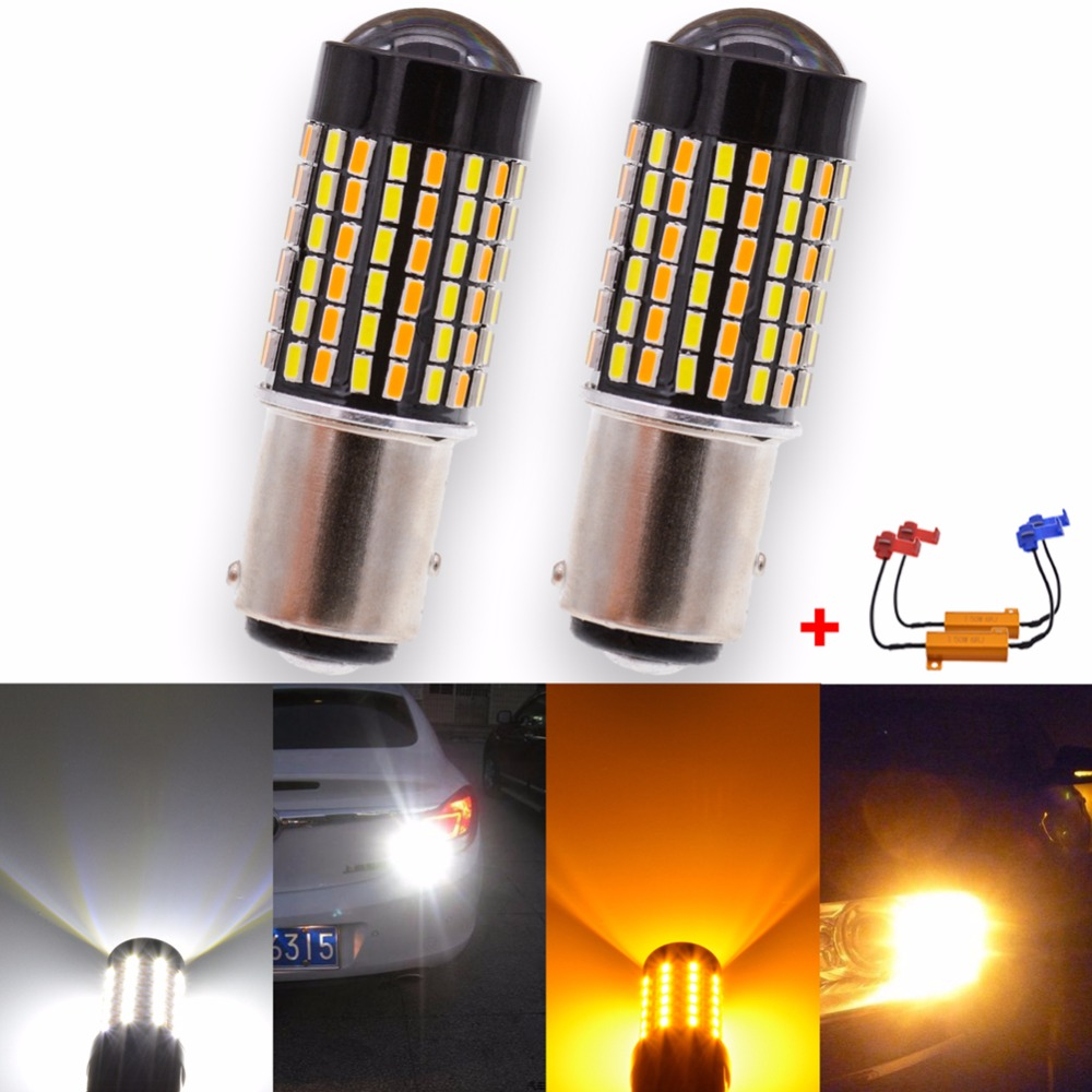 Canbus BAY15D Switchback Led Bulbs White Yellow Dual Color DRL Turn Signal Brake Stop Light T20 7443 T25 3157 Led Bulbs No Error