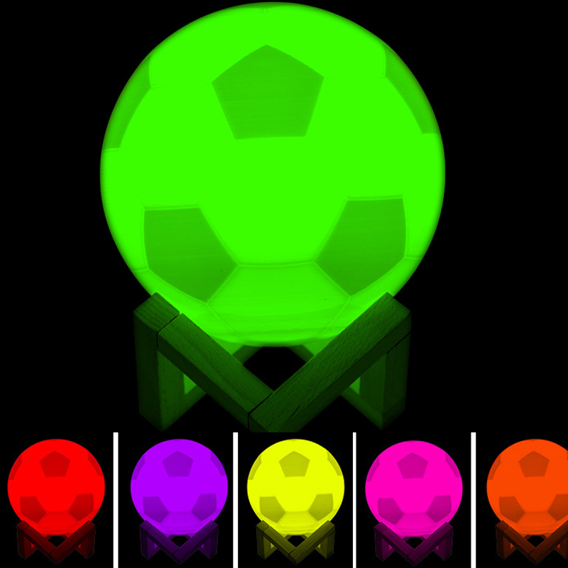3D Touch LED Football Night Light Illusion Pat 7 Colors Soccer Desk Table Lamp For Babyroom Home Decoration Sport Fans Best Gift image