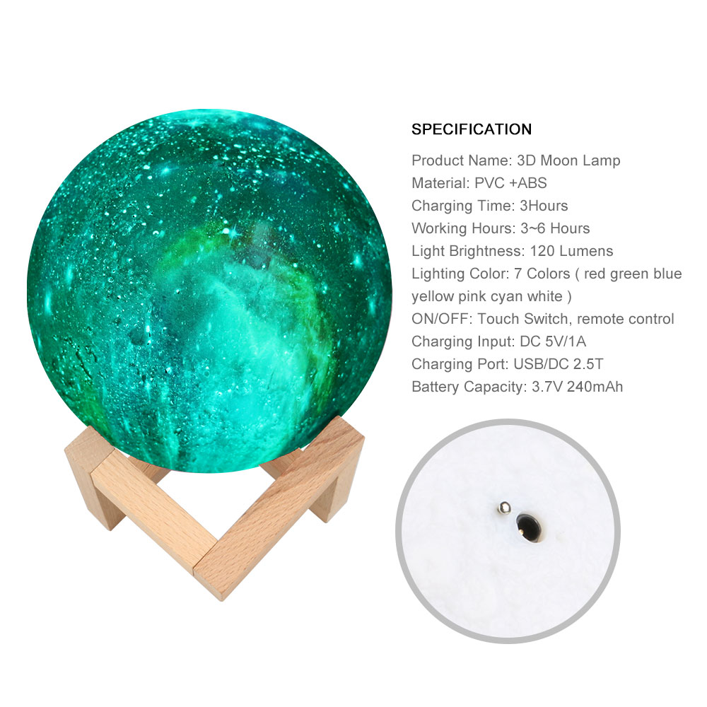 3D Print Galxy Moon Lamp 15CM 7 Color Change Starry Sky Night Lamp Planet Night Light Star Moon Home Decoration Creative Gift