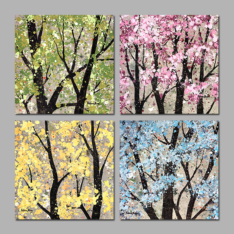 4 Pcs Forest Decoration Seasons Flower Trees Canvas Print Painting